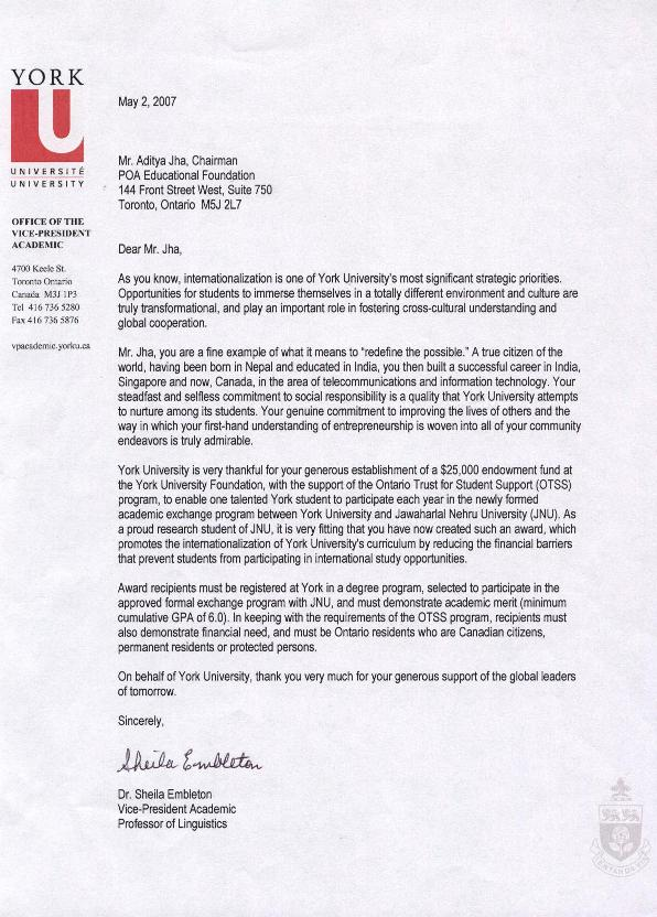 Achnowledgement letter from York University 2007